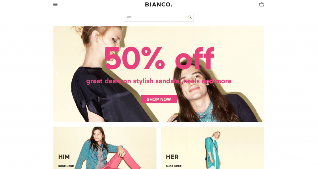 Screenshot of Bianco.com webpages.