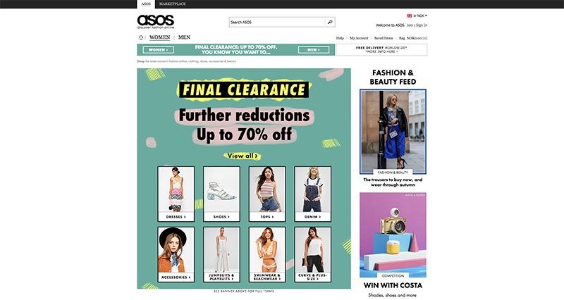 Printscreen of the website asos.com