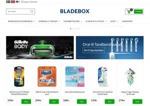 Skjermdump av nettbutikken Bladebox.no